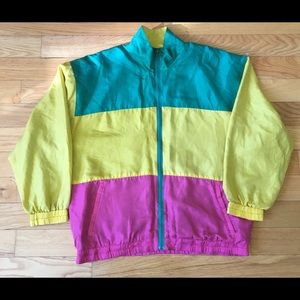 🌈⚡️ 90s Full Zip Rainbow Windbreaker